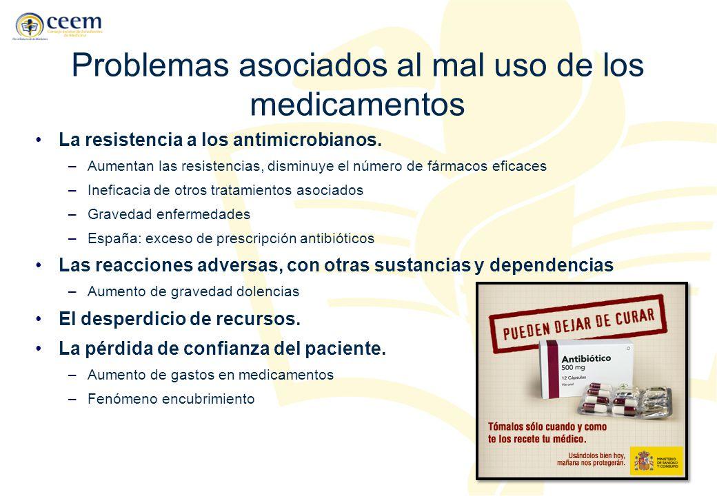Problemas asociados al mal uso de los medicamentos La resistencia a los antimicrobianos. –Aumentan las resistencias, disminuye el número de fármacos e