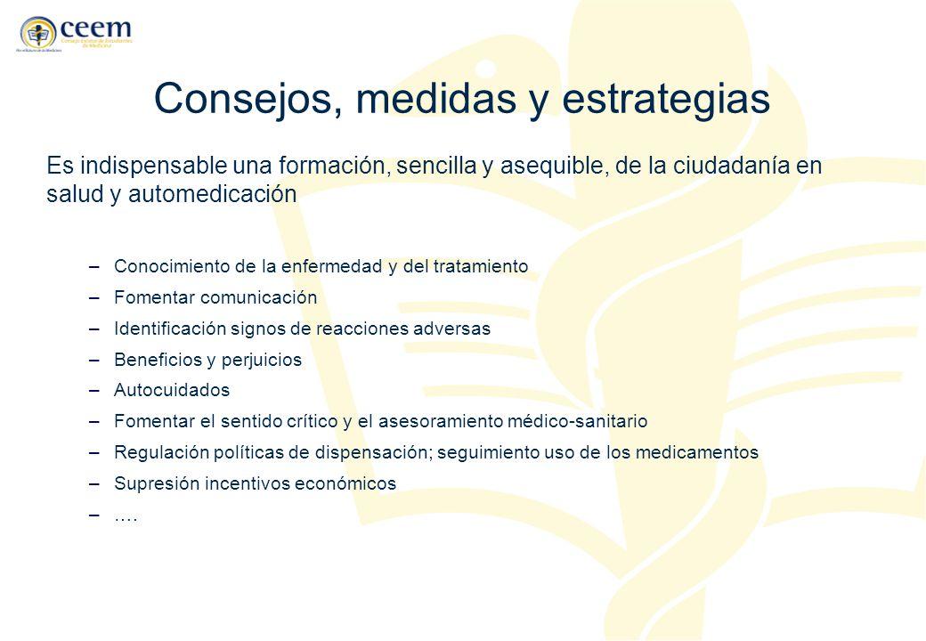 Consejos, medidas y estrategias Es indispensable una formación, sencilla y asequible, de la ciudadanía en salud y automedicación –Conocimiento de la e