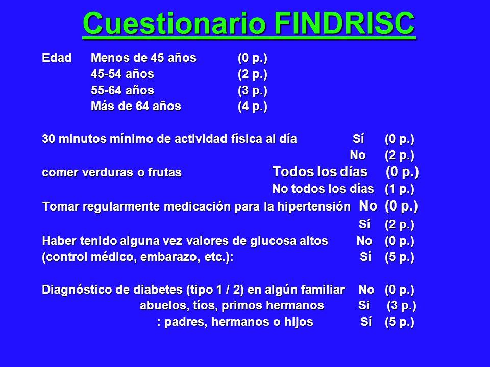Cuestionario FINDRISC Edad Menos de 45 años (0 p.) 45-54 años (2 p.) 45-54 años (2 p.) 55-64 años (3 p.) Más de 64 años (4 p.) Más de 64 años (4 p.) 30 minutos mínimo de actividad física al día Sí (0 p.) No (2 p.) No (2 p.) comer verduras o frutas Todos los días (0 p.) No todos los días (1 p.) No todos los días (1 p.) Tomar regularmente medicación para la hipertensión No (0 p.) Sí (2 p.) Sí (2 p.) Haber tenido alguna vez valores de glucosa altos No (0 p.) (control médico, embarazo, etc.): Sí (5 p.) Diagnóstico de diabetes (tipo 1 / 2) en algún familiar No (0 p.) abuelos, tíos, primos hermanos Si (3 p.) : padres, hermanos o hijos Sí(5 p.) : padres, hermanos o hijos Sí(5 p.)