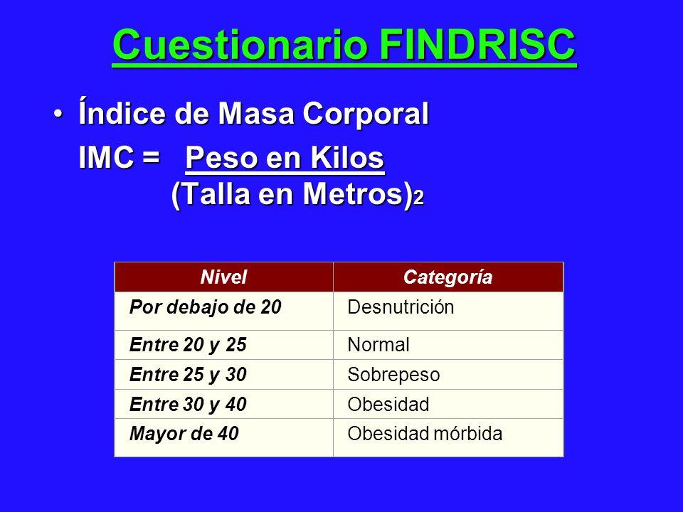 Cuestionario FINDRISC Índice de Masa CorporalÍndice de Masa Corporal IMC = Peso en Kilos (Talla en Metros) 2 NivelCategoría Por debajo de 20Desnutrici