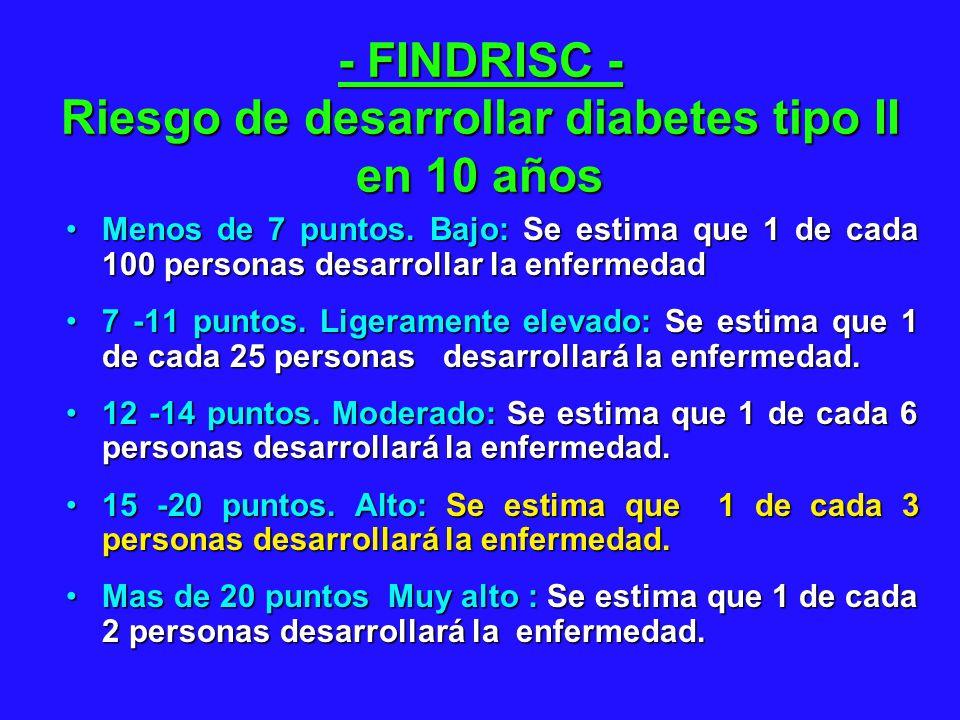 - FINDRISC - Riesgo de desarrollar diabetes tipo II en 10 años Menos de 7 puntos. Bajo: Se estima que 1 de cada 100 personas desarrollar la enfermedad