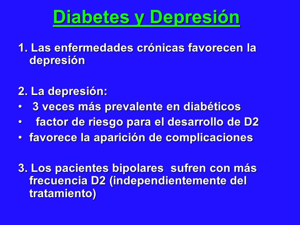 Diabetes y Depresión 1. Las enfermedades crónicas favorecen la depresión 2. La depresión: 3 veces más prevalente en diabéticos 3 veces más prevalente