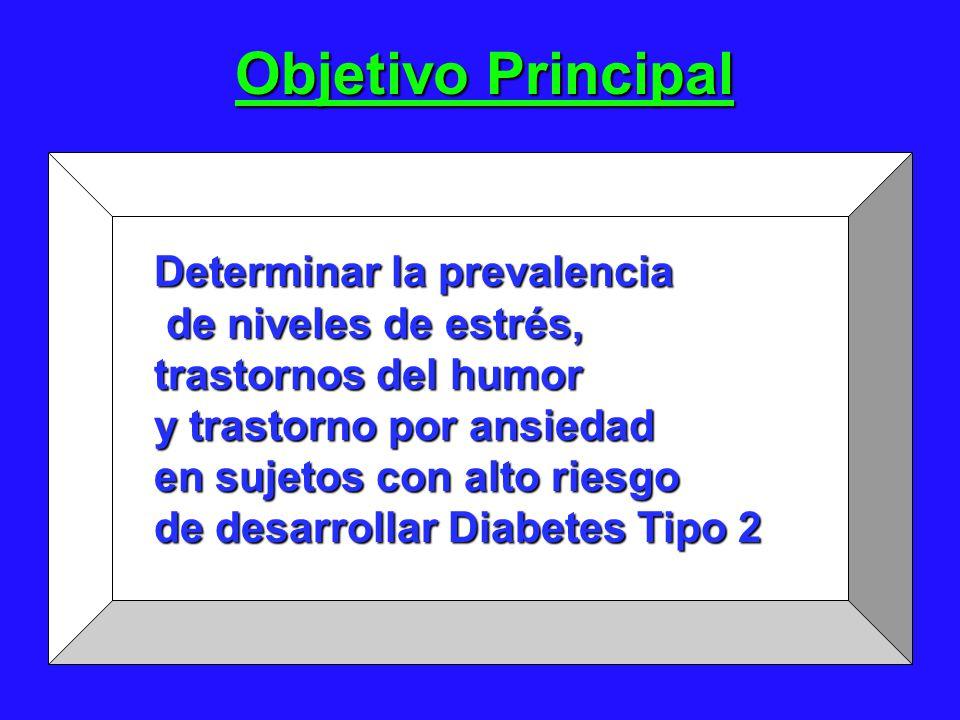 Objetivo Principal Determinar la prevalencia de niveles de estrés, de niveles de estrés, trastornos del humor y trastorno por ansiedad en sujetos con alto riesgo de desarrollar Diabetes Tipo 2