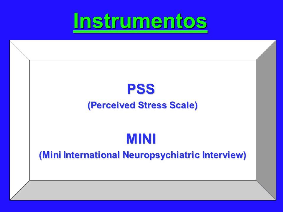 Instrumentos PSS (Perceived Stress Scale) MINI (Mini International Neuropsychiatric Interview)