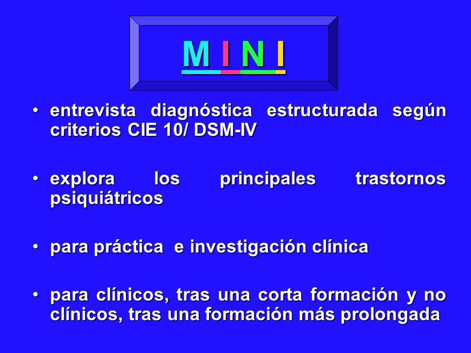 entrevista diagnóstica estructurada según criterios CIE 10/ DSM-IVentrevista diagnóstica estructurada según criterios CIE 10/ DSM-IV explora los princ