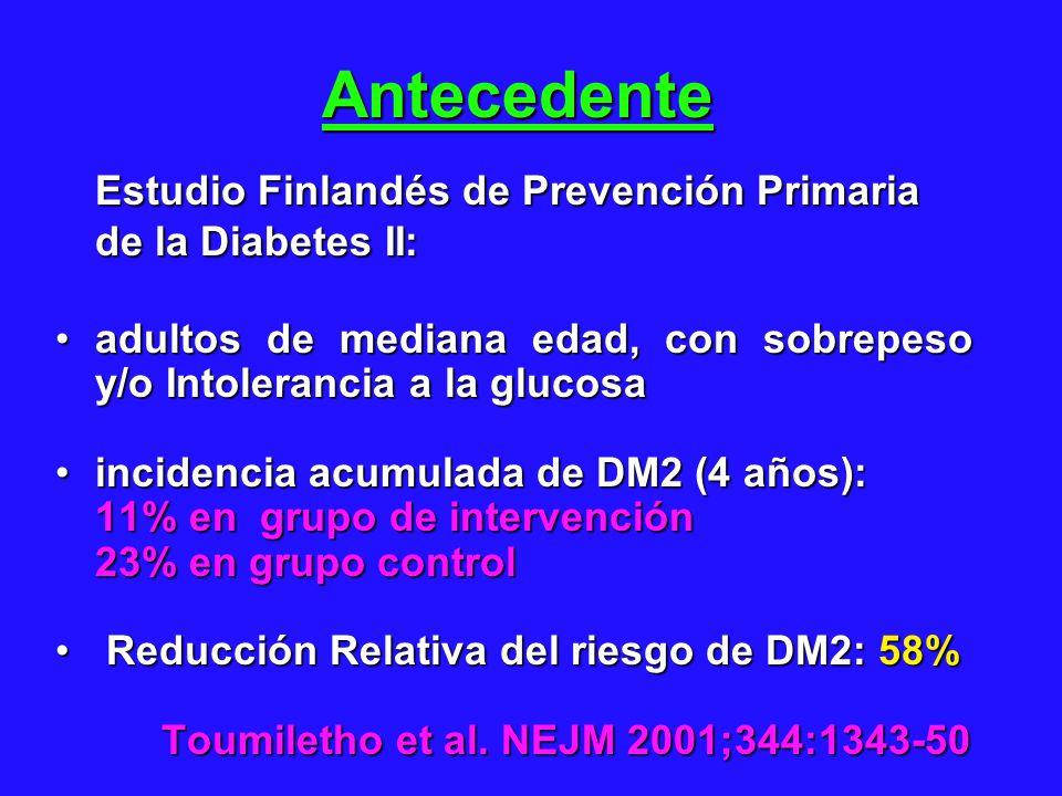 Antecedente Estudio Finlandés de Prevención Primaria de la Diabetes II: adultos de mediana edad, con sobrepeso y/o Intolerancia a la glucosaadultos de mediana edad, con sobrepeso y/o Intolerancia a la glucosa incidencia acumulada de DM2 (4 años):incidencia acumulada de DM2 (4 años): 11% en grupo de intervención 23% en grupo control 23% en grupo control Reducción Relativa del riesgo de DM2: 58% Reducción Relativa del riesgo de DM2: 58% Toumiletho et al.