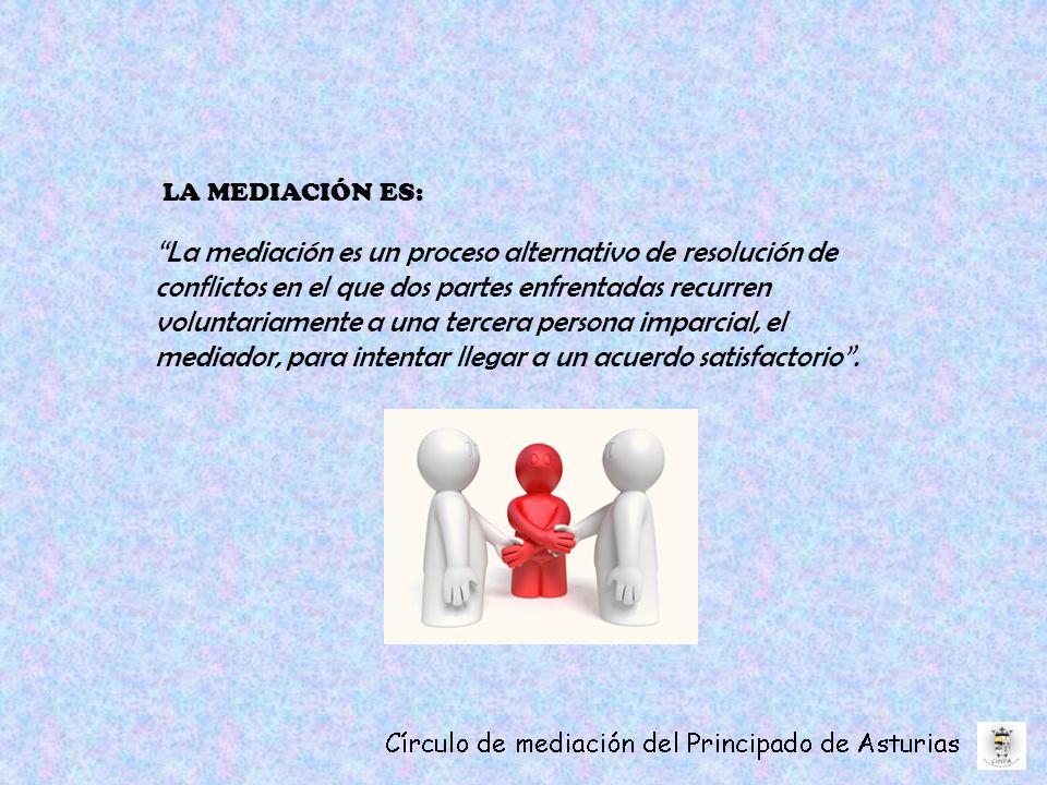 LA MEDIACIÓN ES: La mediación es un proceso alternativo de resolución de conflictos en el que dos partes enfrentadas recurren voluntariamente a una tercera persona imparcial, el mediador, para intentar llegar a un acuerdo satisfactorio.