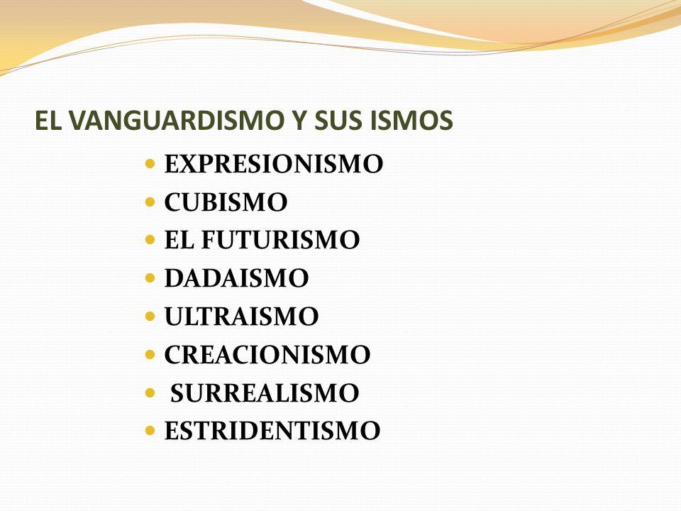 EL VANGUARDISMO Y SUS ISMOS EXPRESIONISMO CUBISMO EL FUTURISMO DADAISMO ULTRAISMO CREACIONISMO SURREALISMO ESTRIDENTISMO