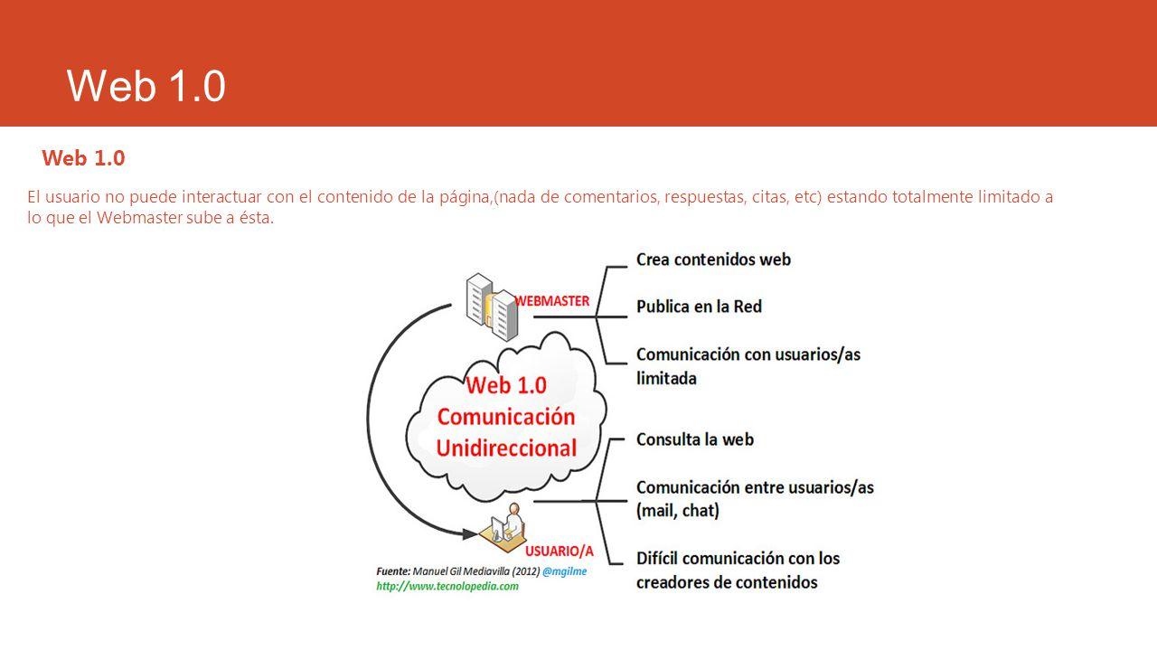 Web 1.0 El usuario no puede interactuar con el contenido de la página,(nada de comentarios, respuestas, citas, etc) estando totalmente limitado a lo q