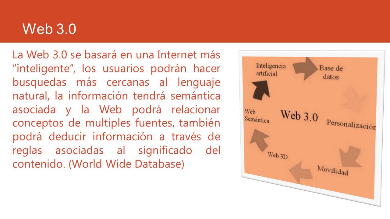 Web 3.0 La Web 3.0 se basará en una Internet más inteligente, los usuarios podrán hacer busquedas más cercanas al lenguaje natural, la información ten