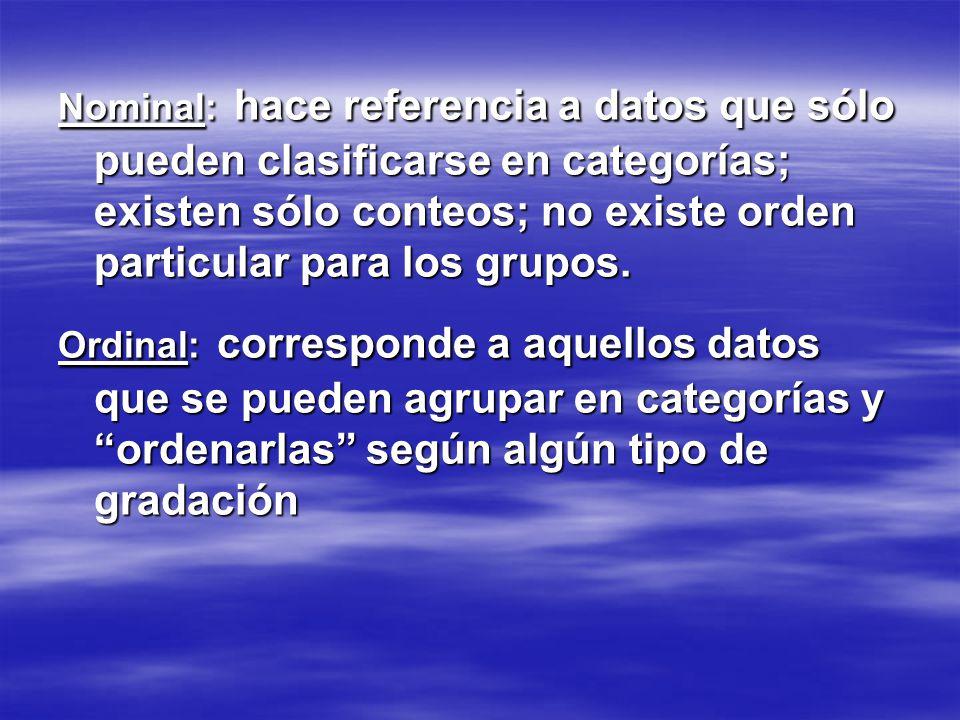 Nominal: hace referencia a datos que sólo pueden clasificarse en categorías; existen sólo conteos; no existe orden particular para los grupos. Ordinal