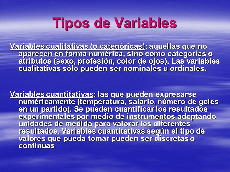 Variables discretas: son el resultado de contar y sólo toman valores enteros (número de hijos).