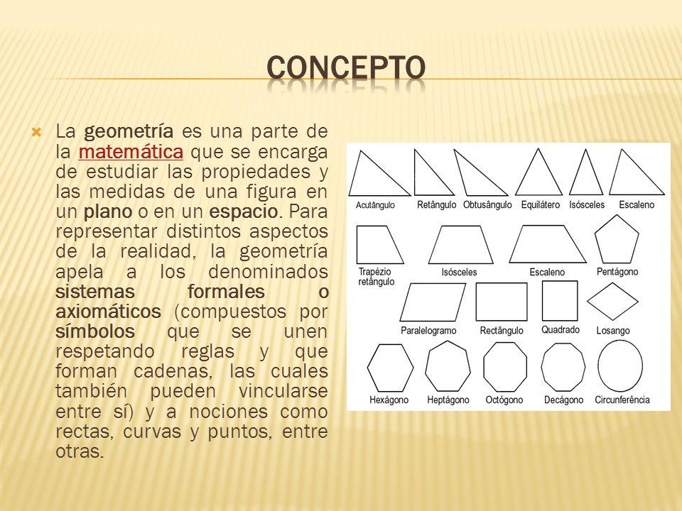 La geometría es una parte de la matemática que se encarga de estudiar las propiedades y las medidas de una figura en un plano o en un espacio. Para re