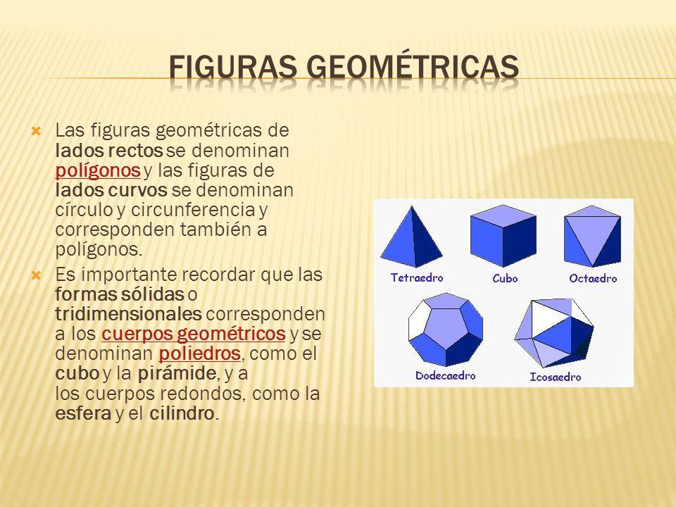 Las figuras geométricas de lados rectos se denominan polígonos y las figuras de lados curvos se denominan círculo y circunferencia y corresponden tamb