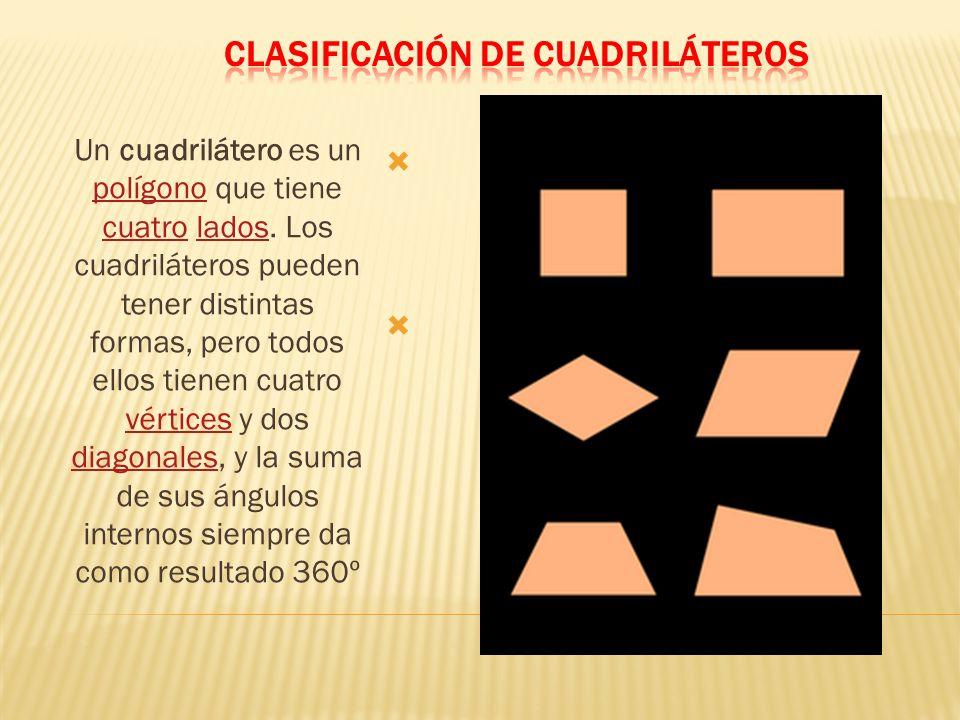 Un cuadrilátero es un polígono que tiene cuatro lados. Los cuadriláteros pueden tener distintas formas, pero todos ellos tienen cuatro vértices y dos