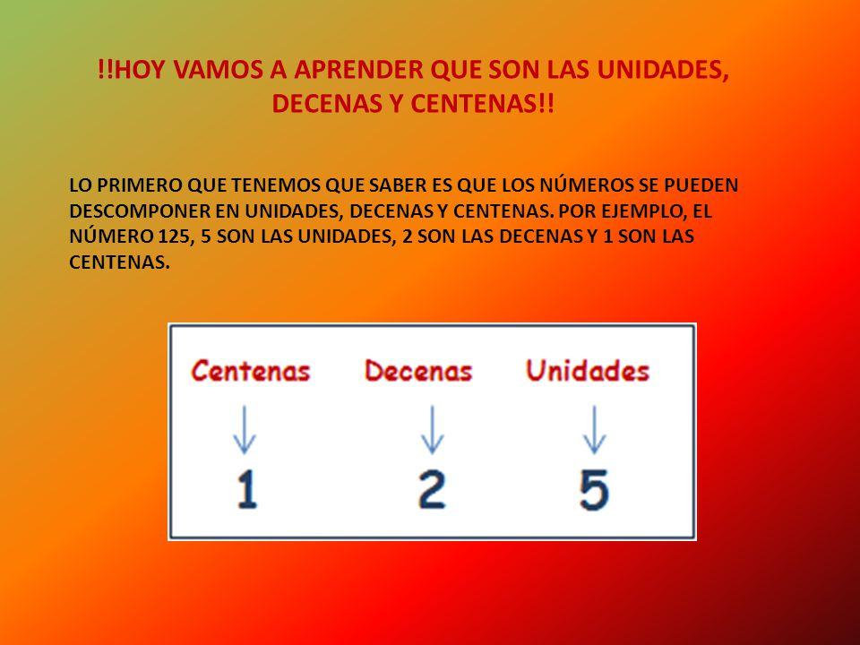 !!HOY VAMOS A APRENDER QUE SON LAS UNIDADES, DECENAS Y CENTENAS!.