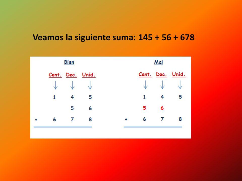 Podemos comprobar que si sumamos estos tres componentes: 100 + 20 + 5 = 125 Cuando sumamos o restamos números hay que escribirlos de forma que: Todas