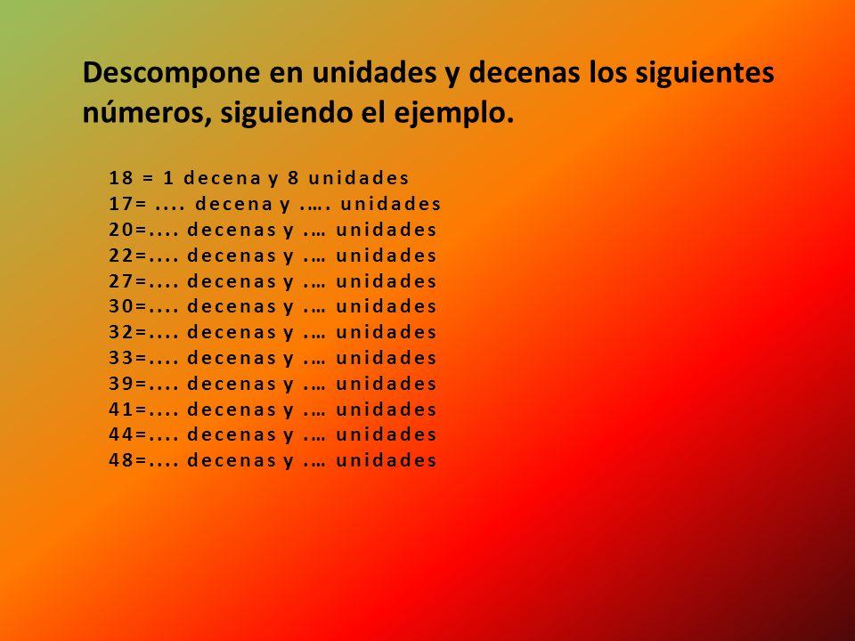 Descompone en unidades y decenas los siguientes números, siguiendo el ejemplo.
