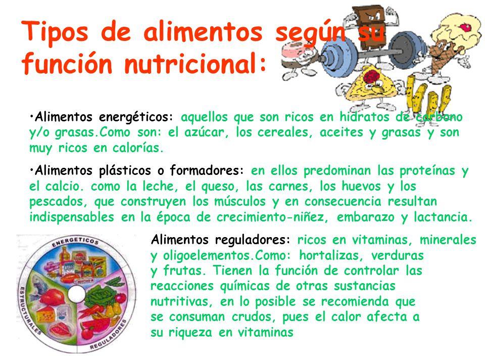 Alimentos energéticos: aquellos que son ricos en hidratos de carbono y/o grasas.Como son: el azúcar, los cereales, aceites y grasas y son muy ricos en calorías.
