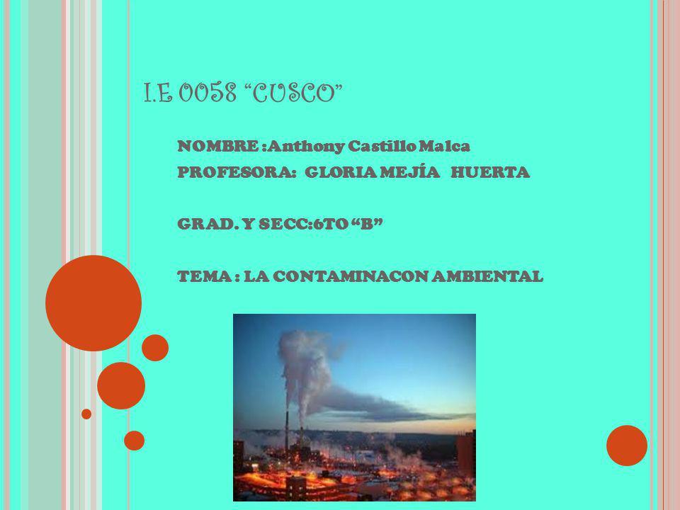 I.E 0058 CUSCO NOMBRE :Anthony Castillo Malca PROFESORA: GLORIA MEJÍA HUERTA GRAD. Y SECC:6TO B TEMA : LA CONTAMINACON AMBIENTAL