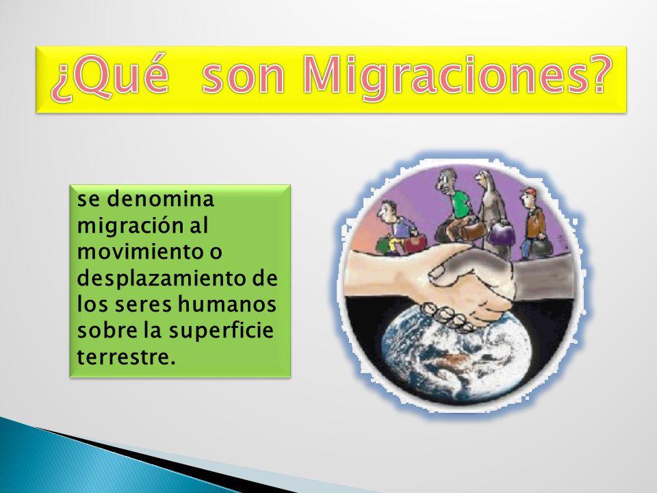 se denomina migración al movimiento o desplazamiento de los seres humanos sobre la superficie terrestre.