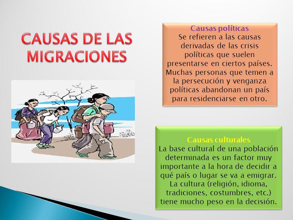 Causas políticas Se refieren a las causas derivadas de las crisis políticas que suelen presentarse en ciertos países. Muchas personas que temen a la p