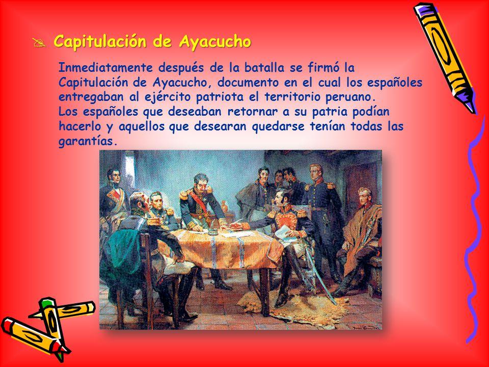 Batalla de Ayacucho Batalla de Ayacucho El 8 de diciembre de 1824 ambos ejércitos se avistaron y empezaron a tomar posición de combate. Los españoles