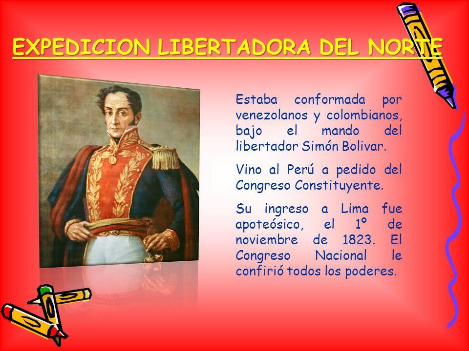 EXPEDICION LIBERTADORA DEL NORTE Estaba conformada por venezolanos y colombianos, bajo el mando del libertador Simón Bolivar.