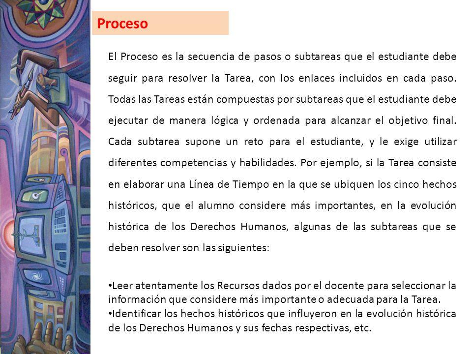 Proceso El Proceso es la secuencia de pasos o subtareas que el estudiante debe seguir para resolver la Tarea, con los enlaces incluidos en cada paso.