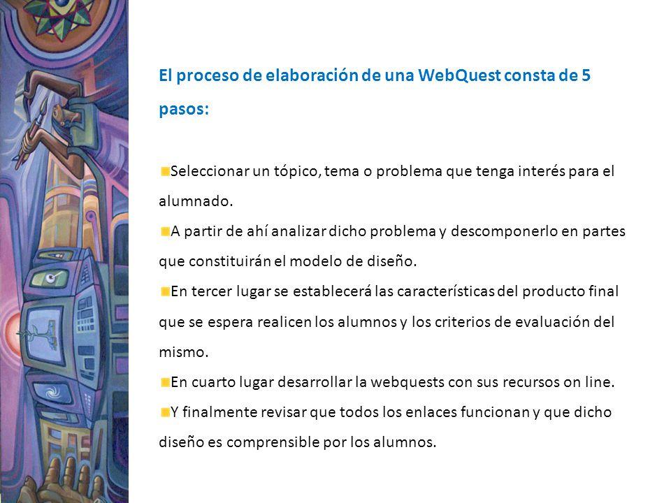 El proceso de elaboración de una WebQuest consta de 5 pasos: Seleccionar un tópico, tema o problema que tenga interés para el alumnado. A partir de ah