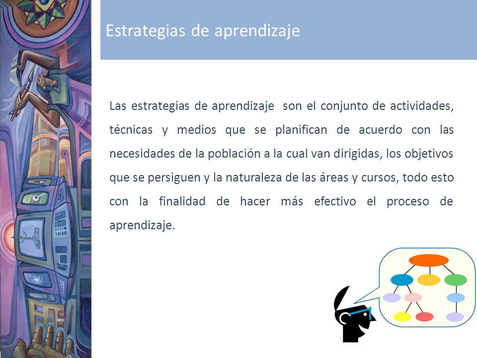 Estrategias de aprendizaje Las estrategias de aprendizaje son el conjunto de actividades, técnicas y medios que se planifican de acuerdo con las neces