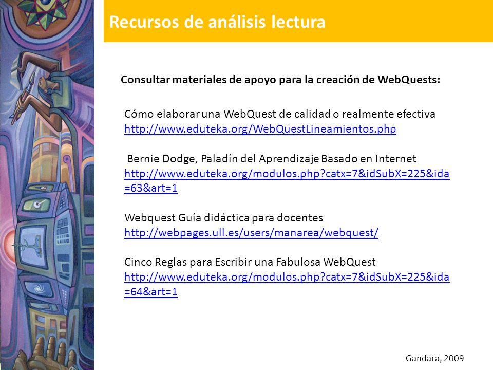 Gandara, 2009 Consultar materiales de apoyo para la creación de WebQuests: Cómo elaborar una WebQuest de calidad o realmente efectiva http://www.edute