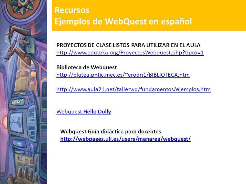Recursos Ejemplos de WebQuest en español Webquest Guía didáctica para docentes http://webpages.ull.es/users/manarea/webquest/ PROYECTOS DE CLASE LISTO