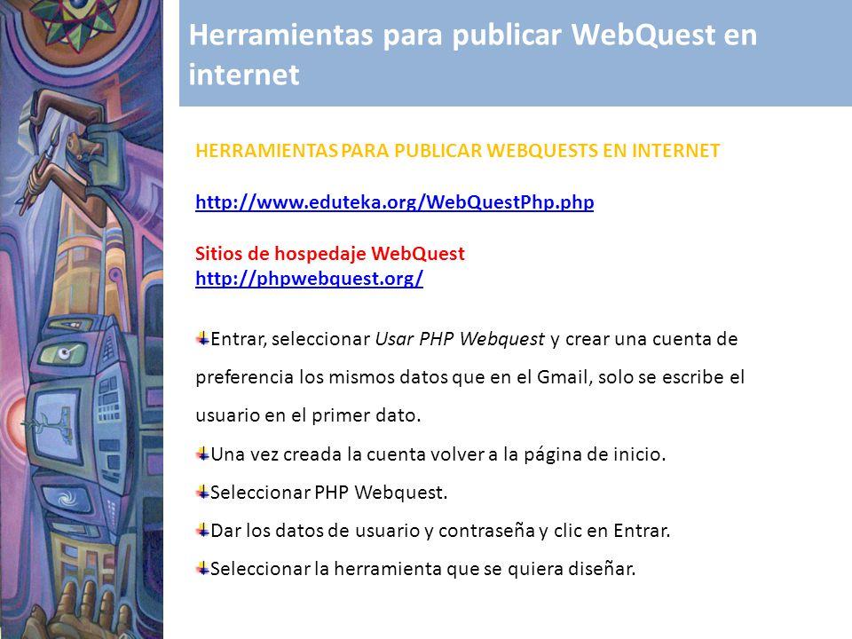 Herramientas para publicar WebQuest en internet HERRAMIENTAS PARA PUBLICAR WEBQUESTS EN INTERNET http://www.eduteka.org/WebQuestPhp.php Sitios de hosp