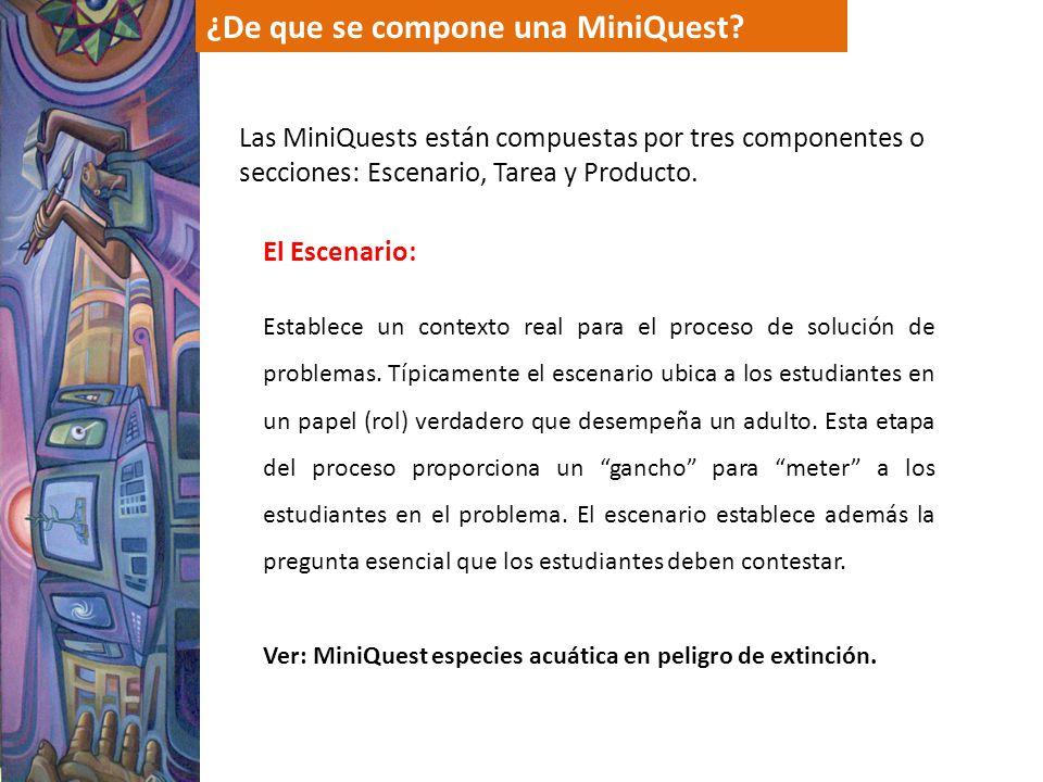 ¿De que se compone una MiniQuest? Las MiniQuests están compuestas por tres componentes o secciones: Escenario, Tarea y Producto. El Escenario: Estable