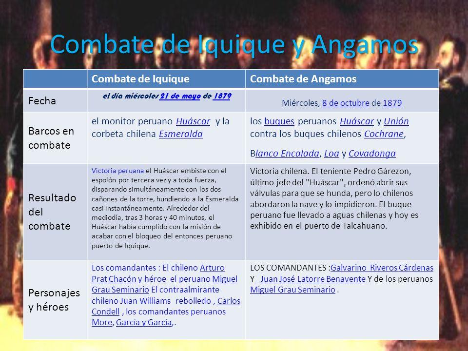 Combate de Iquique y Angamos Combate de IquiqueCombate de Angamos Fecha el día miércoles 21 de mayo de 187921 de mayo1879 Miércoles, 8 de octubre de 18798 de octubre1879 Barcos en combate el monitor peruano Huáscar y la corbeta chilena EsmeraldaHuáscarEsmeralda los buques peruanos Huáscar y Unión contra los buques chilenos Cochrane, Blanco Encalada, Loa y CovadongabuquesHuáscarUniónCochranelanco EncaladaLoaCovadonga Resultado del combate Victoria peruana el Huáscar embiste con el espolón por tercera vez y a toda fuerza, disparando simultáneamente con los dos cañones de la torre, hundiendo a la Esmeralda casi instantáneamente.