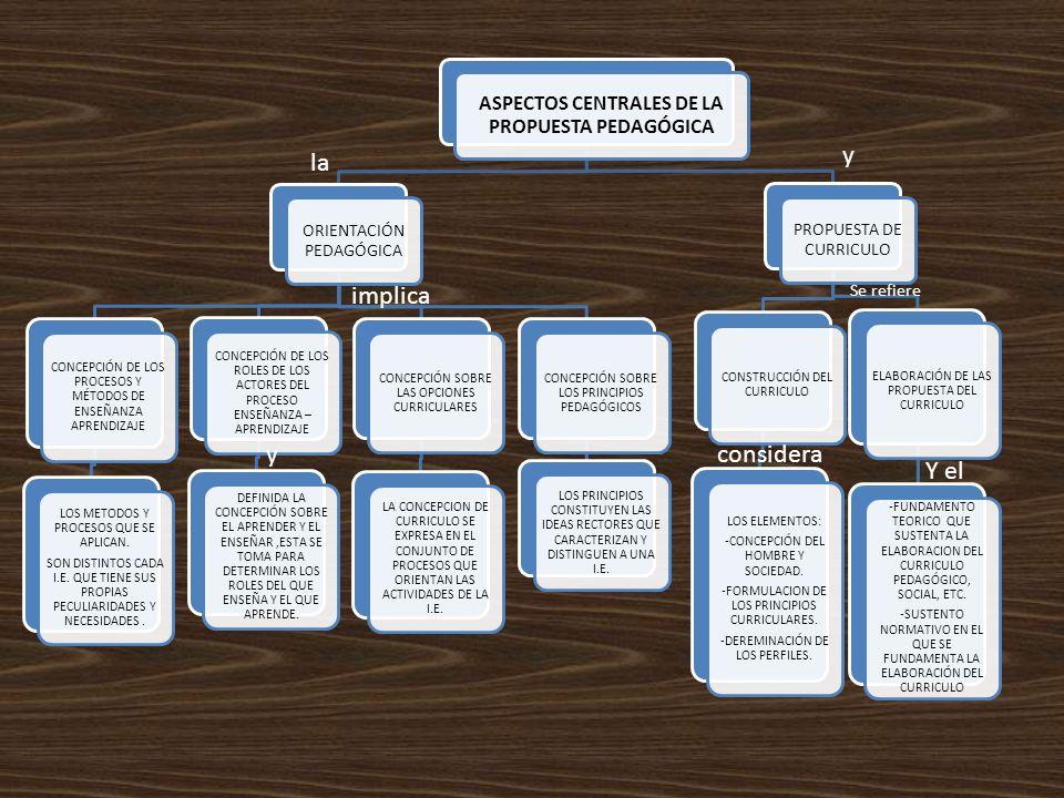 ASPECTOS CENTRALES DE LA PROPUESTA PEDAGÓGICA ORIENTACIÓN PEDAGÓGICA CONCEPCIÓN DE LOS PROCESOS Y MÉTODOS DE ENSEÑANZA APRENDIZAJE LOS METODOS Y PROCE