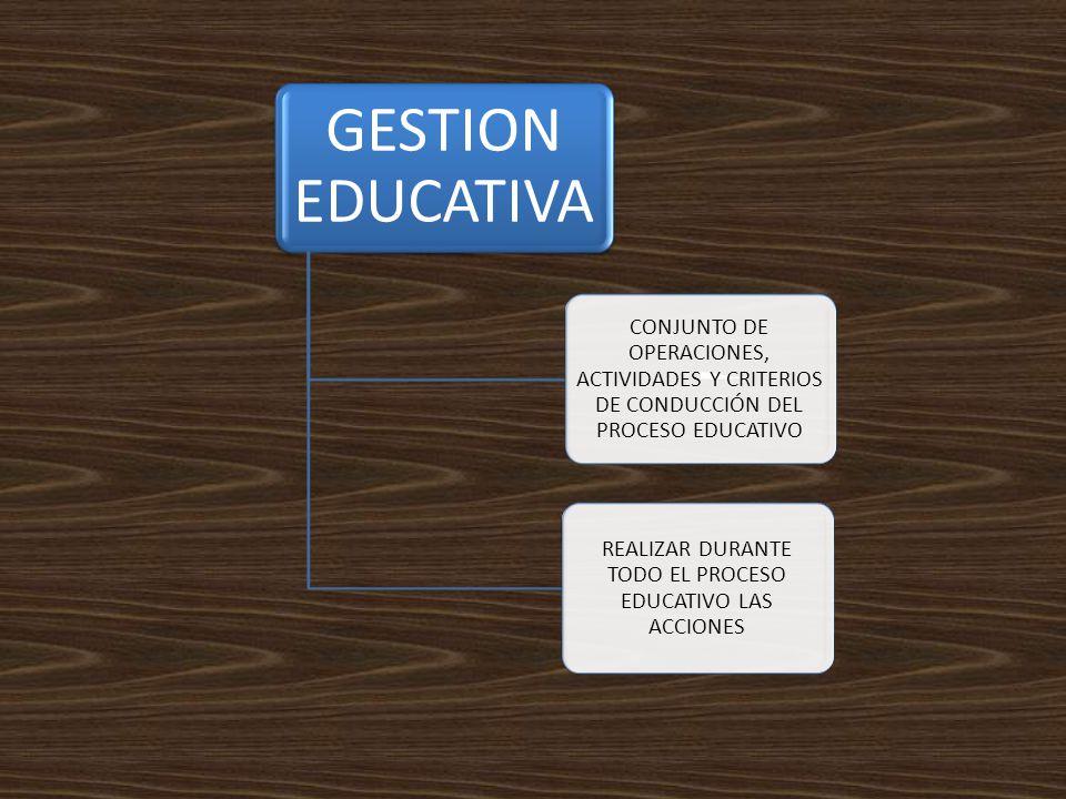 GESTION EDUCATIVA CONJUNTO DE OPERACIONES, ACTIVIDADES Y CRITERIOS DE CONDUCCIÓN DEL PROCESO EDUCATIVO REALIZAR DURANTE TODO EL PROCESO EDUCATIVO LAS ACCIONES