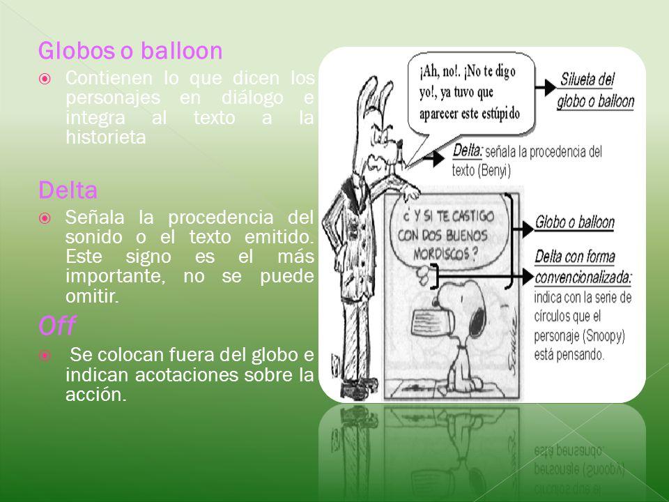Globos o balloon Contienen lo que dicen los personajes en diálogo e integra al texto a la historieta Delta Señala la procedencia del sonido o el texto