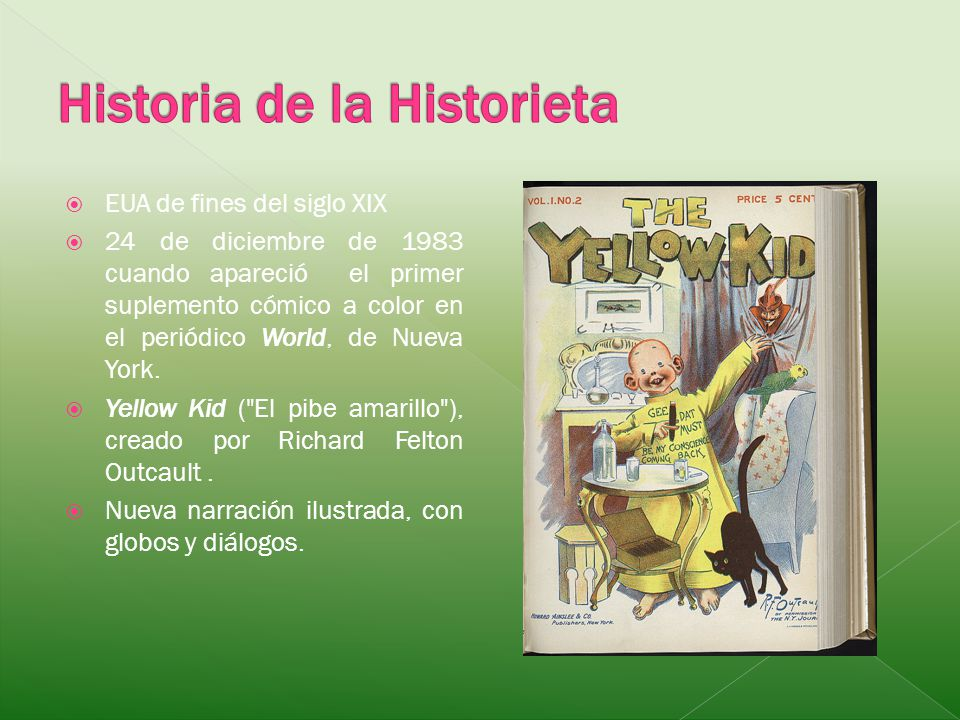 EUA de fines del siglo XIX 24 de diciembre de 1983 cuando apareció el primer suplemento cómico a color en el periódico World, de Nueva York. Yellow Ki