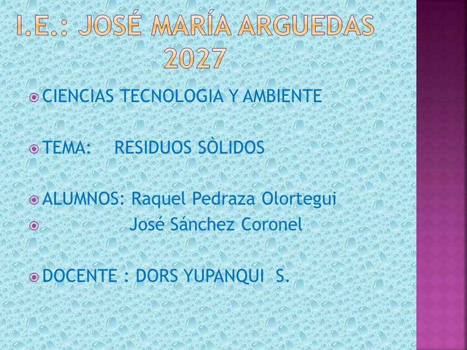 CIENCIAS TECNOLOGIA Y AMBIENTE TEMA: RESIDUOS SÒLIDOS ALUMNOS: Raquel Pedraza Olortegui José Sánchez Coronel DOCENTE : DORS YUPANQUI S.