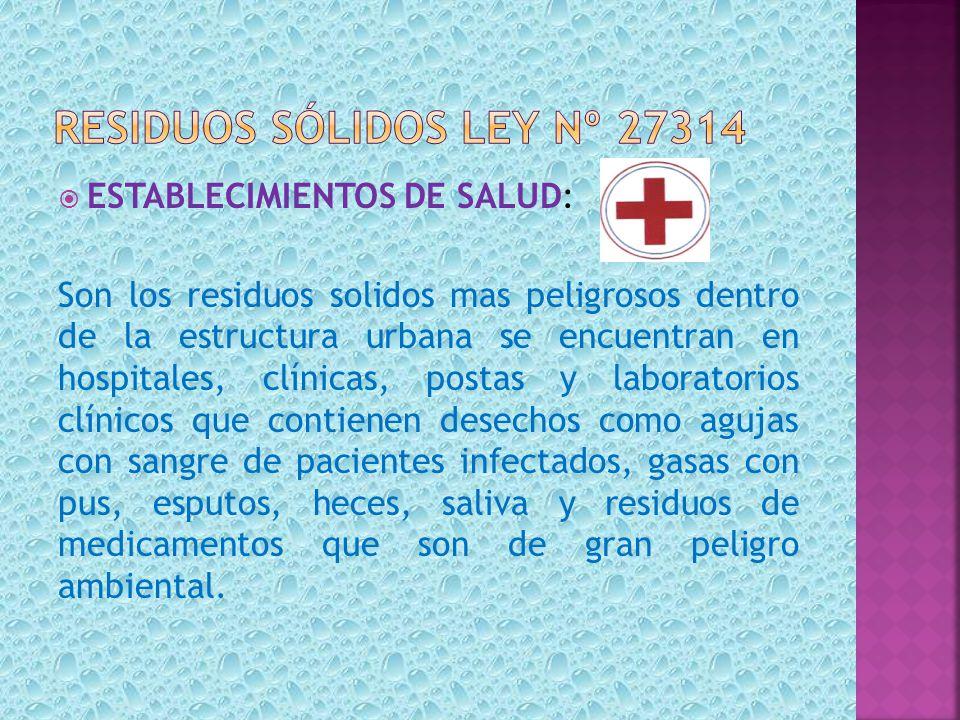 ESTABLECIMIENTOS DE SALUD: Son los residuos solidos mas peligrosos dentro de la estructura urbana se encuentran en hospitales, clínicas, postas y labo