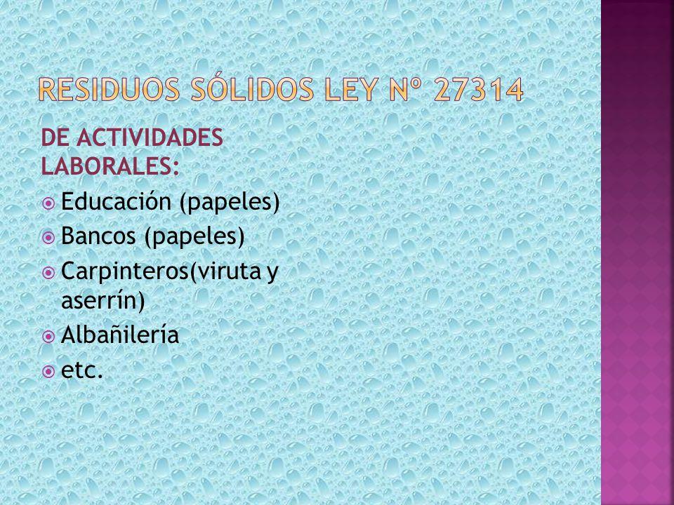 DE ACTIVIDADES LABORALES: Educación (papeles) Bancos (papeles) Carpinteros(viruta y aserrín) Albañilería etc.