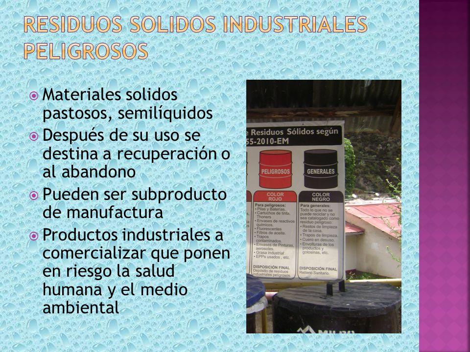 Materiales solidos pastosos, semilíquidos Después de su uso se destina a recuperación o al abandono Pueden ser subproducto de manufactura Productos in