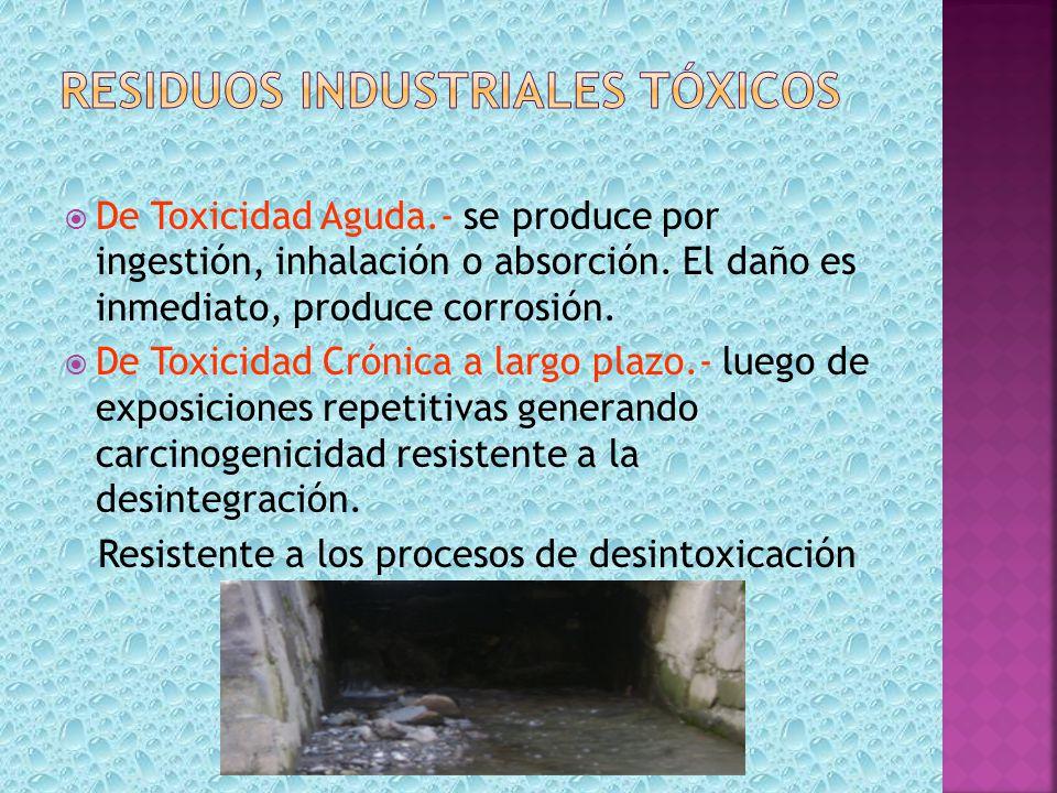 De Toxicidad Aguda.- se produce por ingestión, inhalación o absorción. El daño es inmediato, produce corrosión. De Toxicidad Crónica a largo plazo.- l