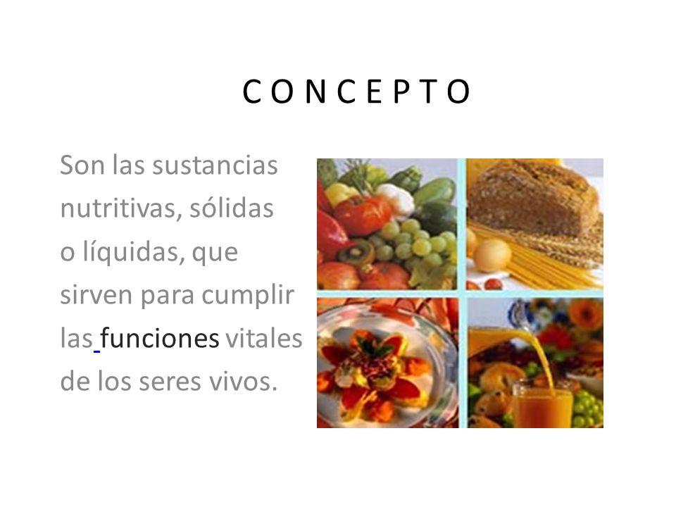 C O N C E P T O Son las sustancias nutritivas, sólidas o líquidas, que sirven para cumplir las funciones vitales de los seres vivos.