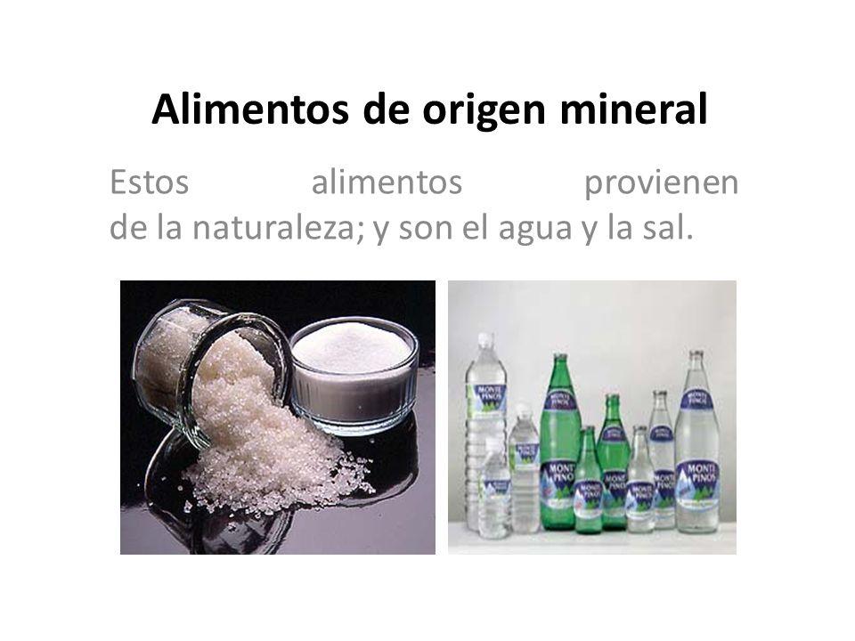 Alimentos de origen mineral Estos alimentos provienen de la naturaleza; y son el agua y la sal.