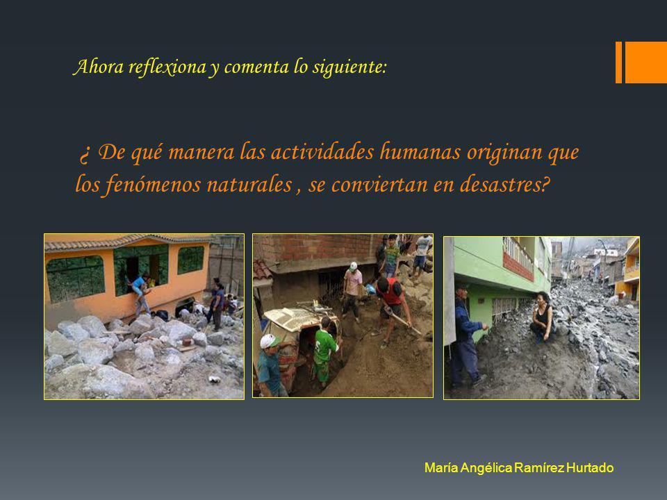 Observa las imágenes de la tabla de abajo. Cada una de ellas representa a un desastre natural, identifícalas. María Angélica Ramírez Hurtado