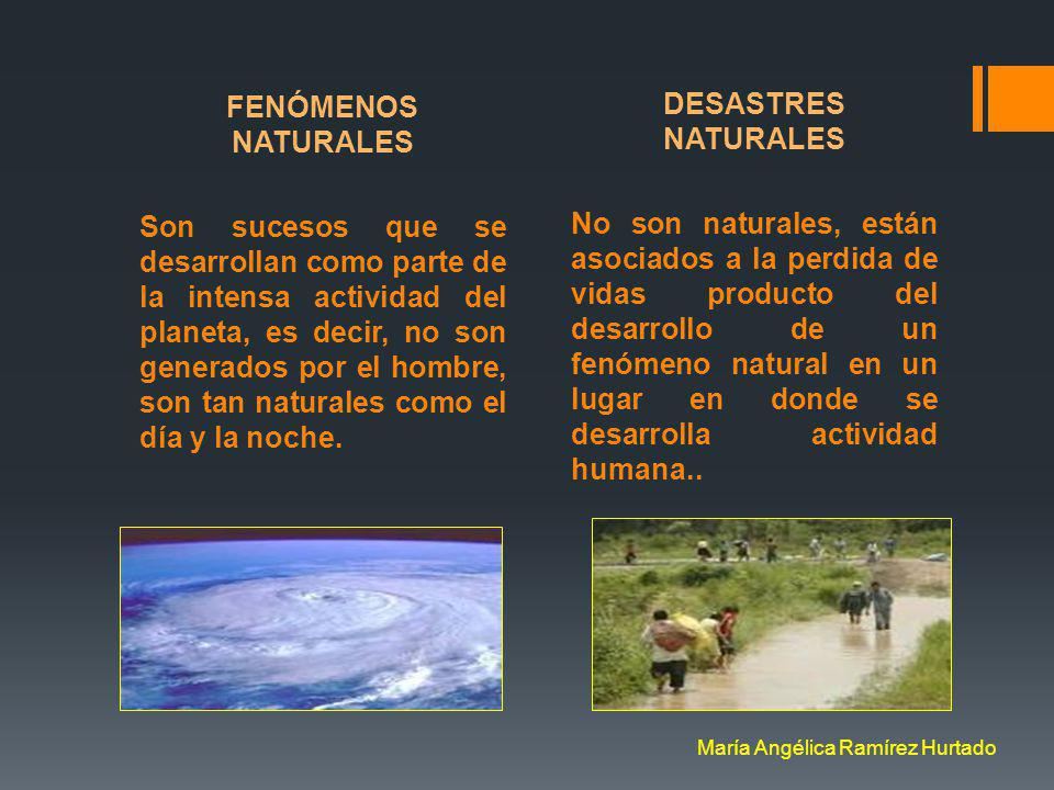 Una pregunta ¿ Es lo mismo decir fenómeno natural… que desastre natural ? María Angélica Ramírez Hurtado
