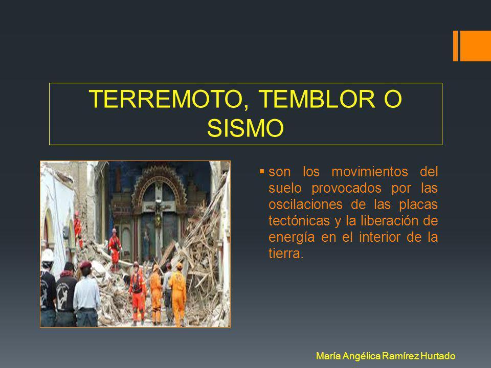 TERREMOTO, TEMBLOR O SISMO son los movimientos del suelo provocados por las oscilaciones de las placas tectónicas y la liberación de energía en el interior de la tierra.